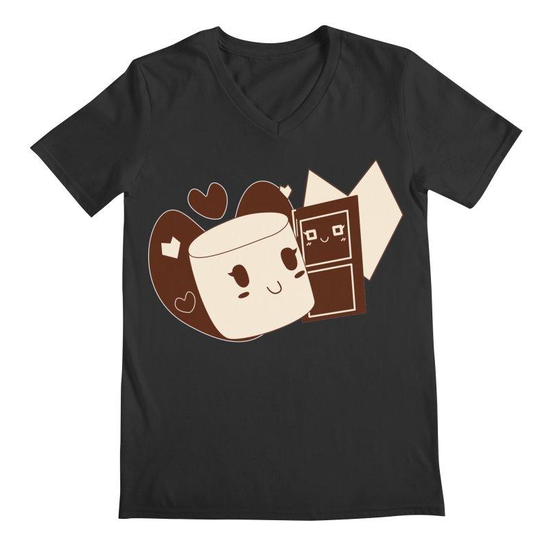 Chocolate Marshmallow Love Men's V-Neck by Phancipy's Artist Shop
