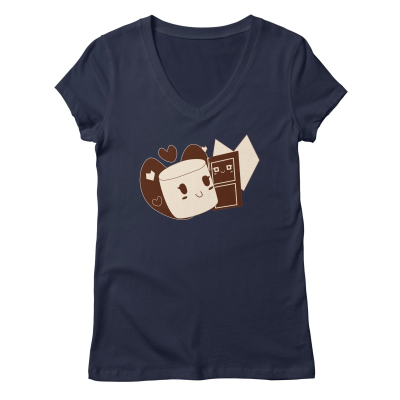 Chocolate Marshmallow Love Women's Regular V-Neck by Phancipy's Artist Shop