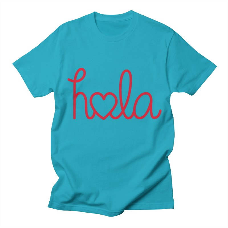 Hola - Hello, Love Men's Regular T-Shirt by Illustrations by Phil