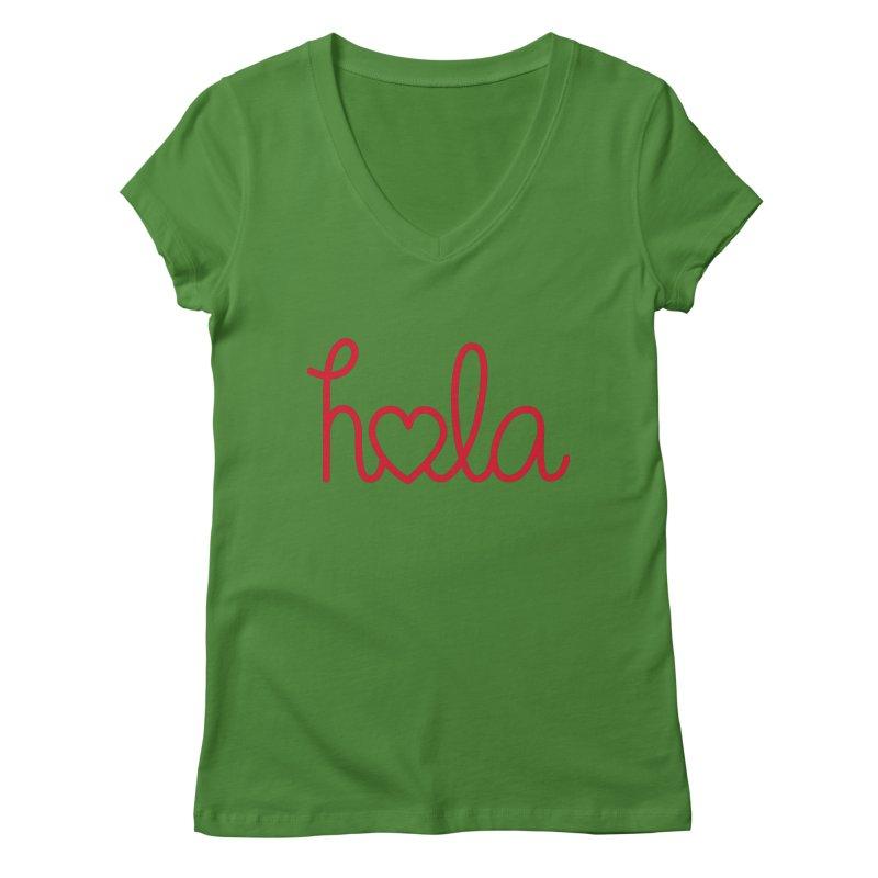 Hola - Hello, Love Women's Regular V-Neck by Illustrations by Phil