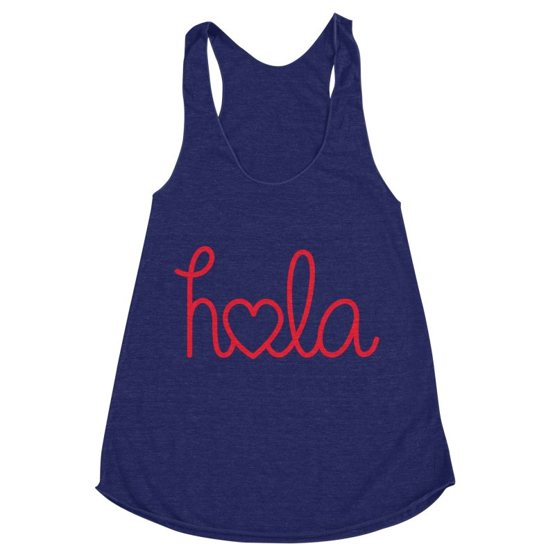 Hola - Hello, Love Women's Racerback Triblend Tank by Illustrations by Phil