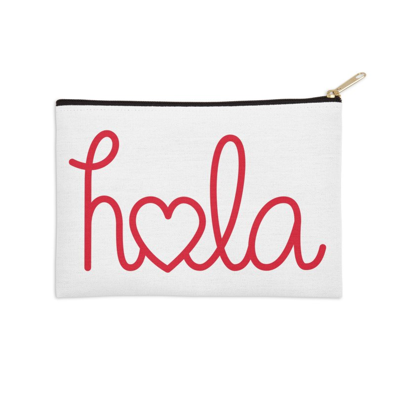 Hola - Hello, Love Accessories Zip Pouch by Illustrations by Phil