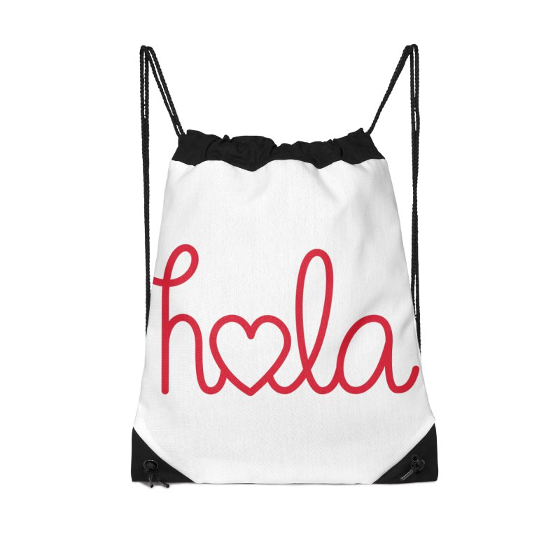 Hola - Hello, Love Accessories Drawstring Bag Bag by Illustrations by Phil