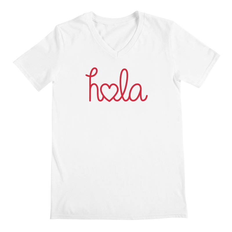 Hola - Hello, Love Men's V-Neck by Illustrations by Phil