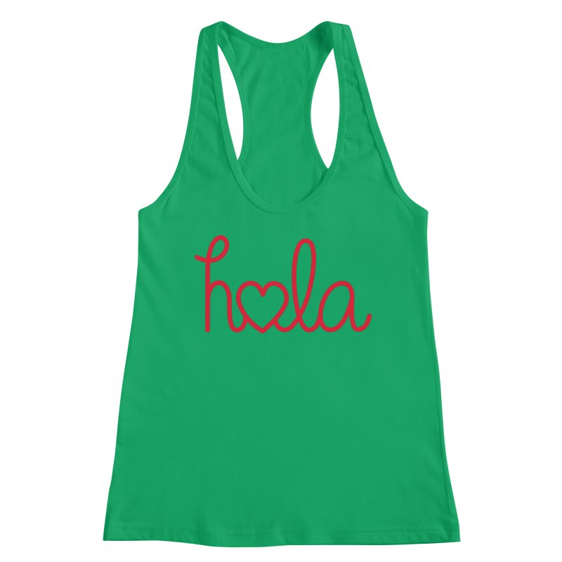 Hola - Hello, Love Women's Racerback Tank by Illustrations by Phil