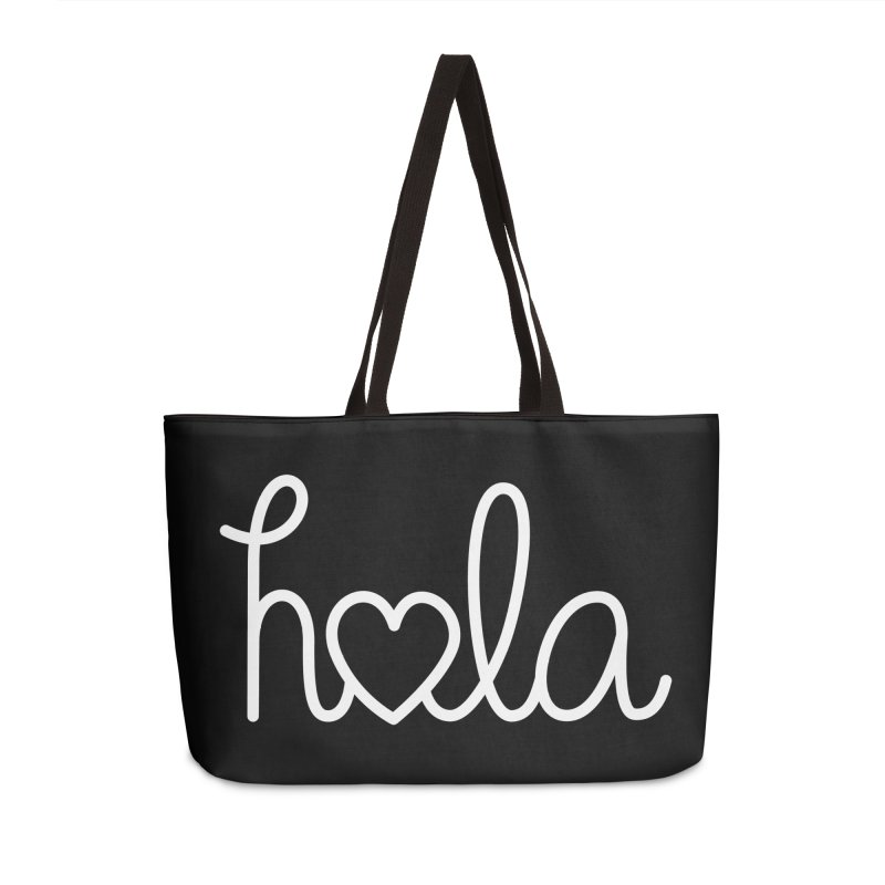 Hola - hello love, in Spanish Accessories Weekender Bag Bag by Illustrations by Phil