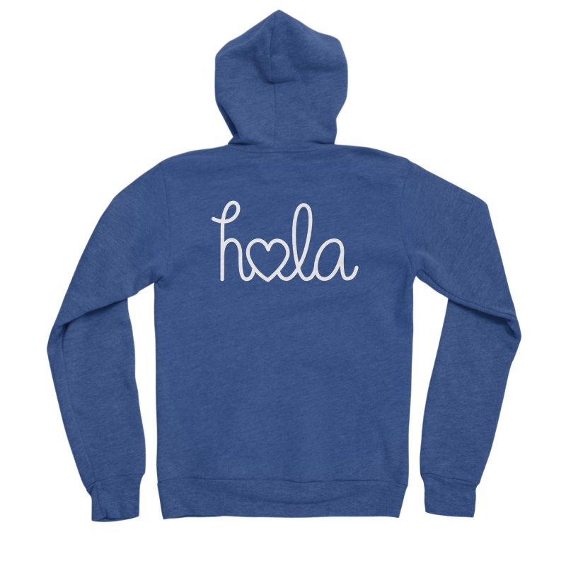 Hola - hello love, in Spanish Men's Sponge Fleece Zip-Up Hoody by Illustrations by Phil