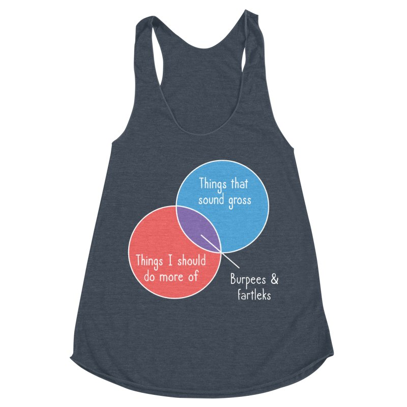 Burpees and Fartleks Women's Racerback Triblend Tank by Illustrations by Phil