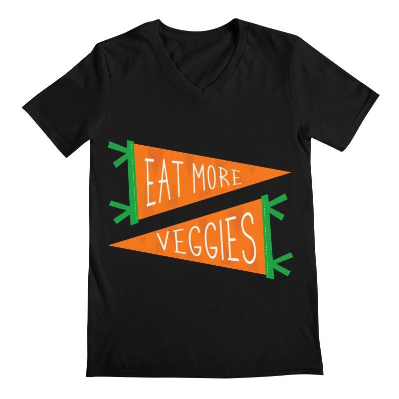 Eat more veggies Men's Regular V-Neck by Illustrations by Phil