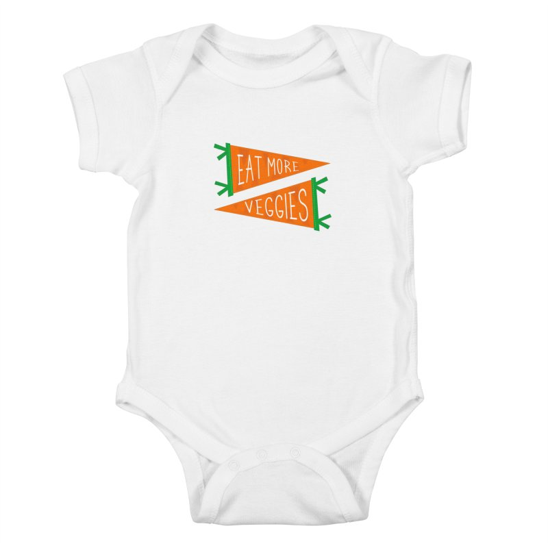 Eat more veggies Kids Baby Bodysuit by Illustrations by Phil