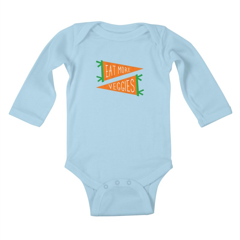 Eat more veggies Kids Baby Longsleeve Bodysuit by Illustrations by Phil
