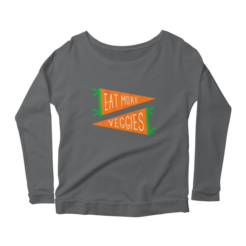 Eat more veggies Women's Scoop Neck Longsleeve T-Shirt by Illustrations by Phil