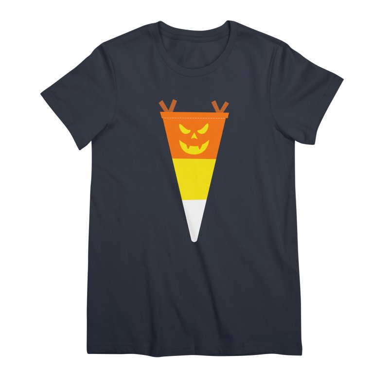 Candy Corn Pumpkin Women's Premium T-Shirt by Illustrations by Phil