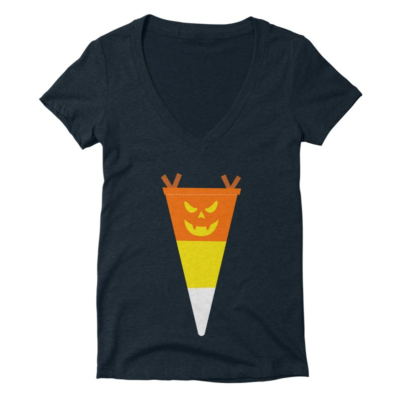 Candy Corn Pumpkin Women's Deep V-Neck V-Neck by Illustrations by Phil
