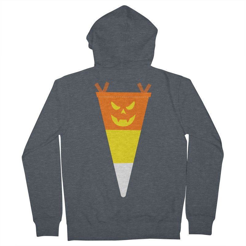 Candy Corn Pumpkin Men's French Terry Zip-Up Hoody by Illustrations by Phil
