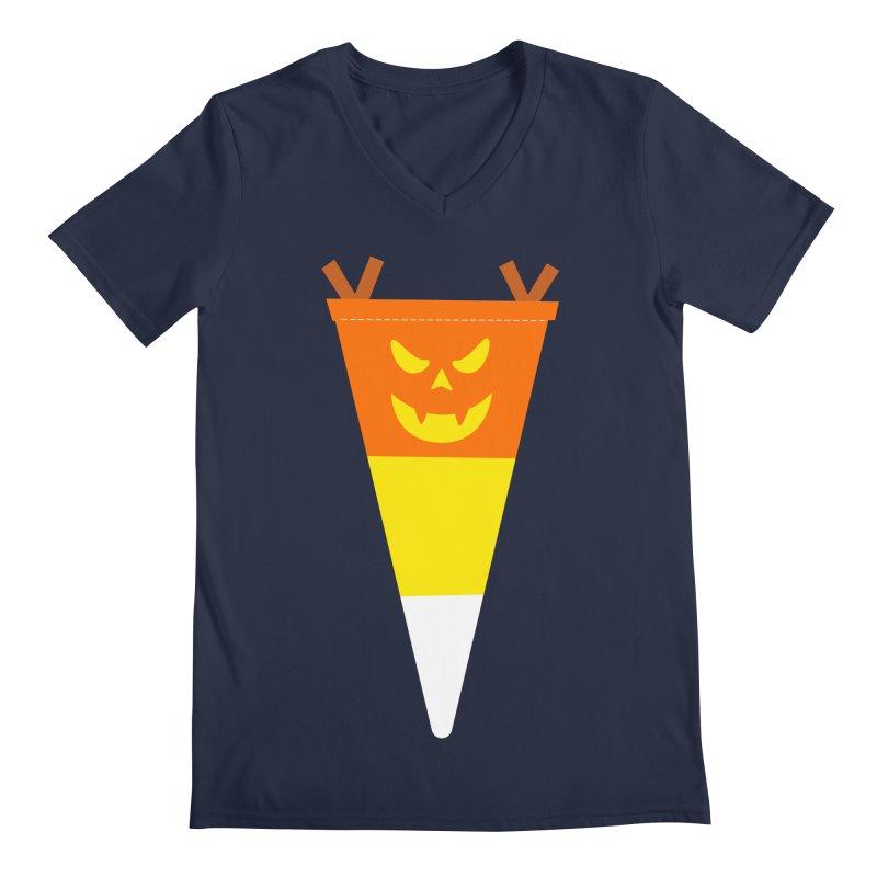 Candy Corn Pumpkin Men's Regular V-Neck by Illustrations by Phil