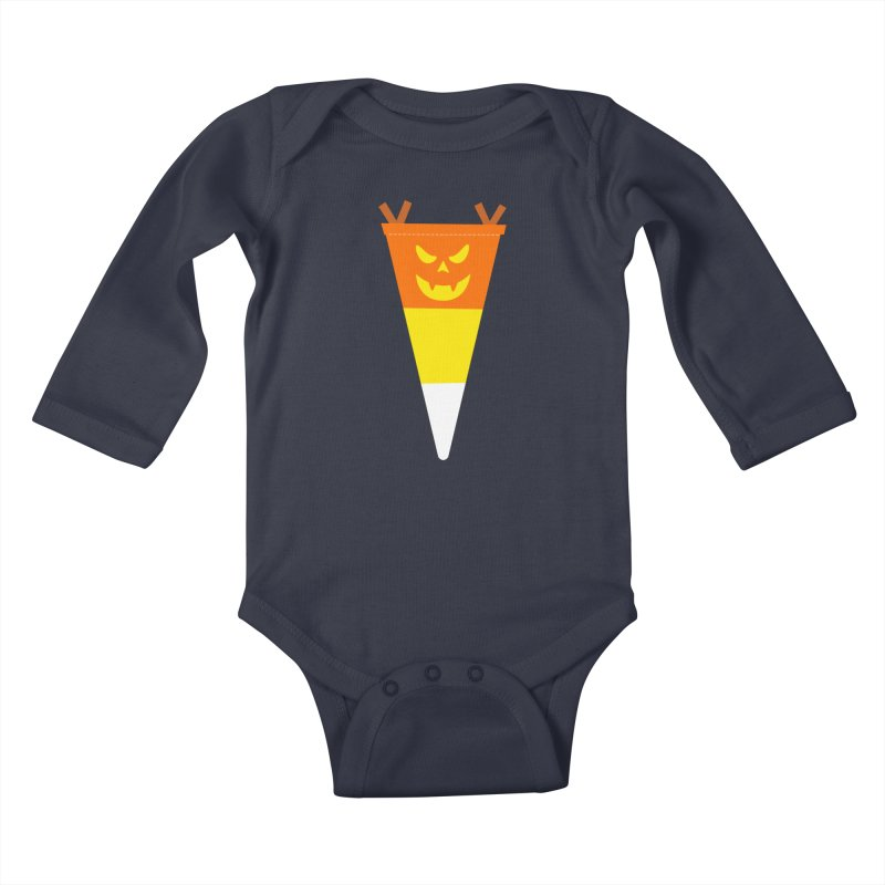 Candy Corn Pumpkin Kids Baby Longsleeve Bodysuit by Illustrations by Phil