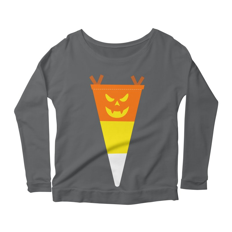 Candy Corn Pumpkin Women's Scoop Neck Longsleeve T-Shirt by Illustrations by Phil