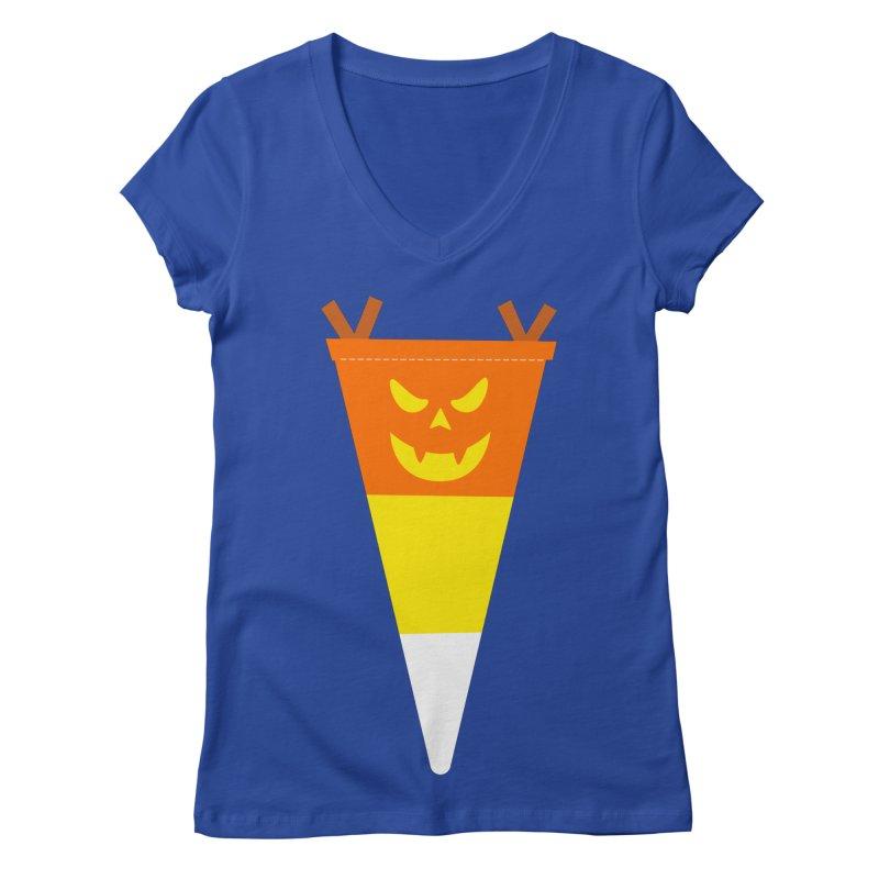 Candy Corn Pumpkin Women's Regular V-Neck by Illustrations by Phil