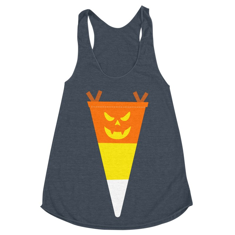 Candy Corn Pumpkin Women's Racerback Triblend Tank by Illustrations by Phil