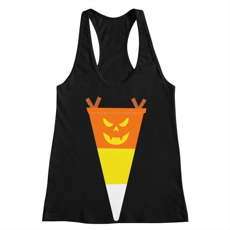 Candy Corn Pumpkin Women's Racerback Tank by Illustrations by Phil