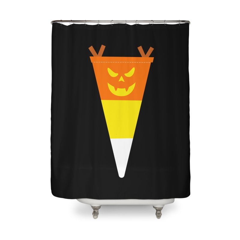 Candy Corn Pumpkin Home Shower Curtain by Illustrations by Phil