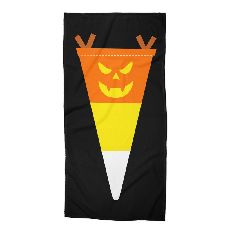 Candy Corn Pumpkin Accessories Beach Towel by Illustrations by Phil