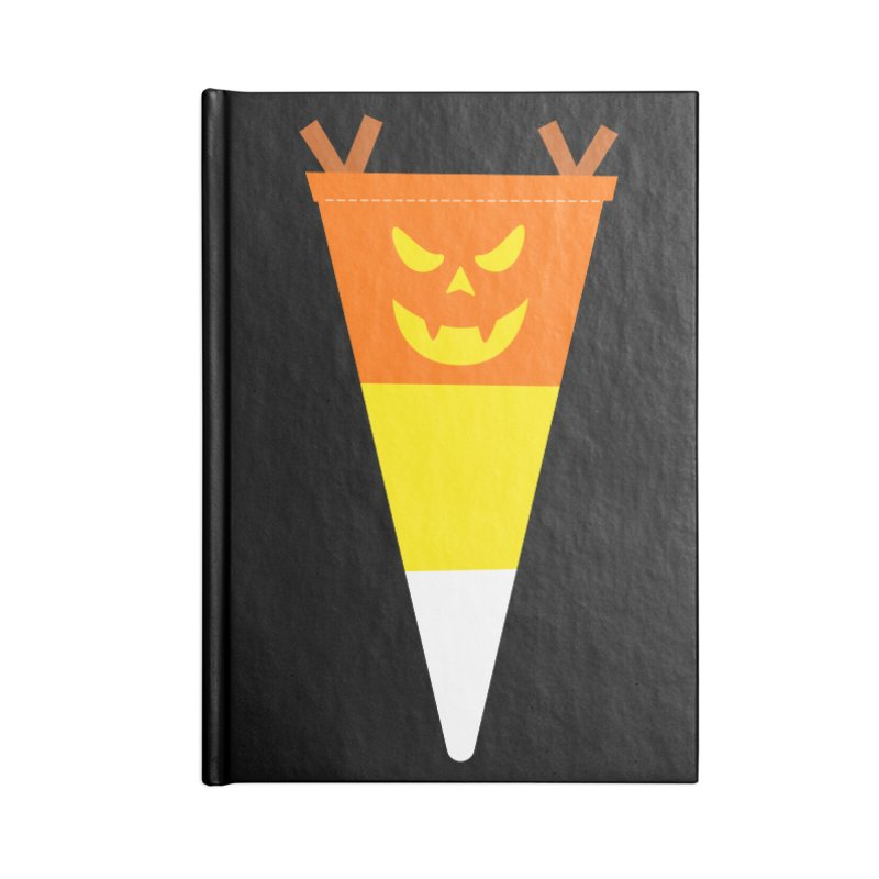 Candy Corn Pumpkin Accessories Lined Journal Notebook by Illustrations by Phil