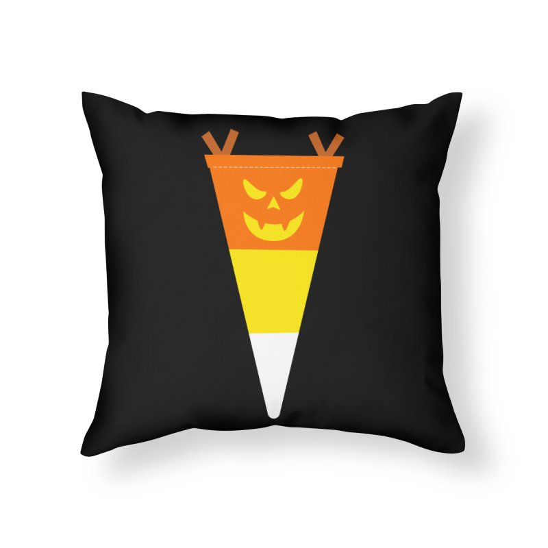 Candy Corn Pumpkin Home Throw Pillow by Illustrations by Phil