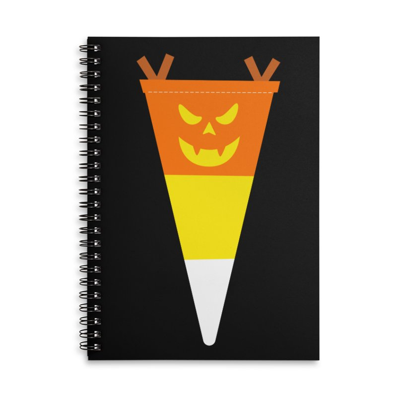 Candy Corn Pumpkin Accessories Lined Spiral Notebook by Illustrations by Phil