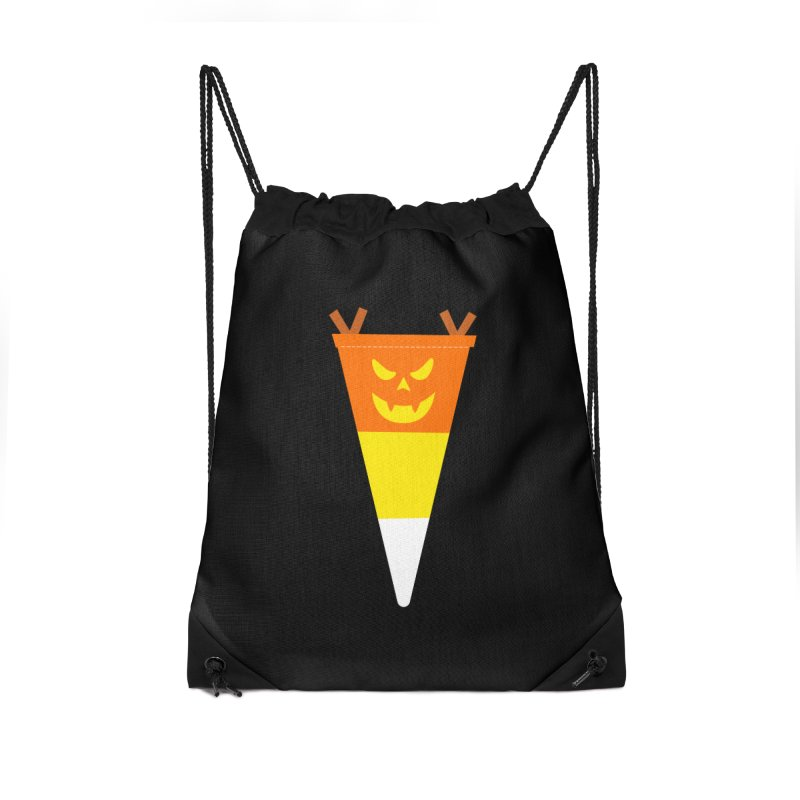 Candy Corn Pumpkin Accessories Drawstring Bag Bag by Illustrations by Phil
