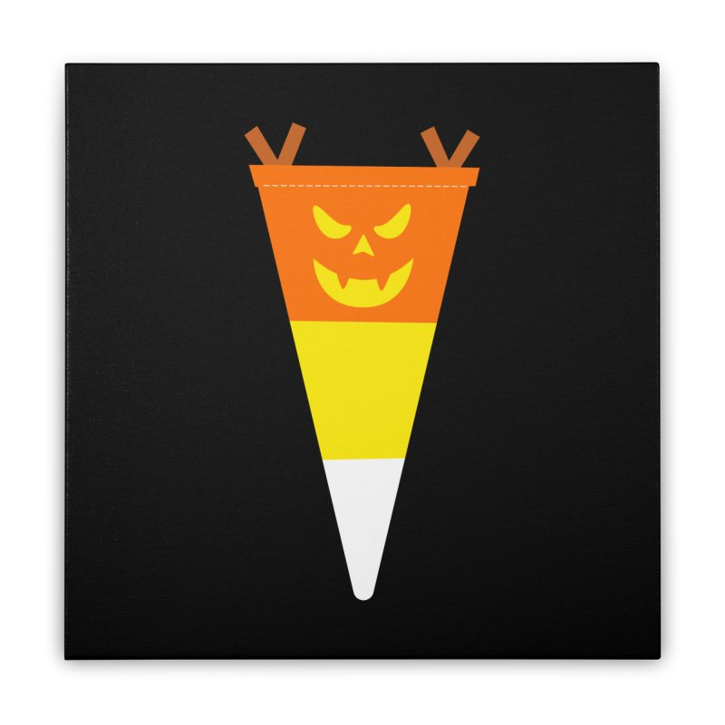 Candy Corn Pumpkin Home Stretched Canvas by Illustrations by Phil