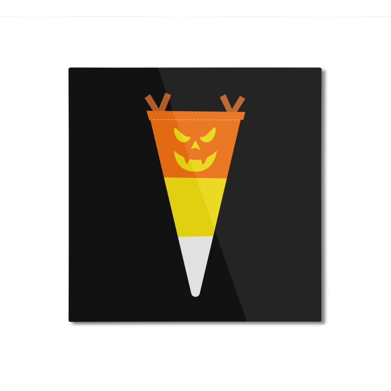Candy Corn Pumpkin Home Mounted Aluminum Print by Illustrations by Phil