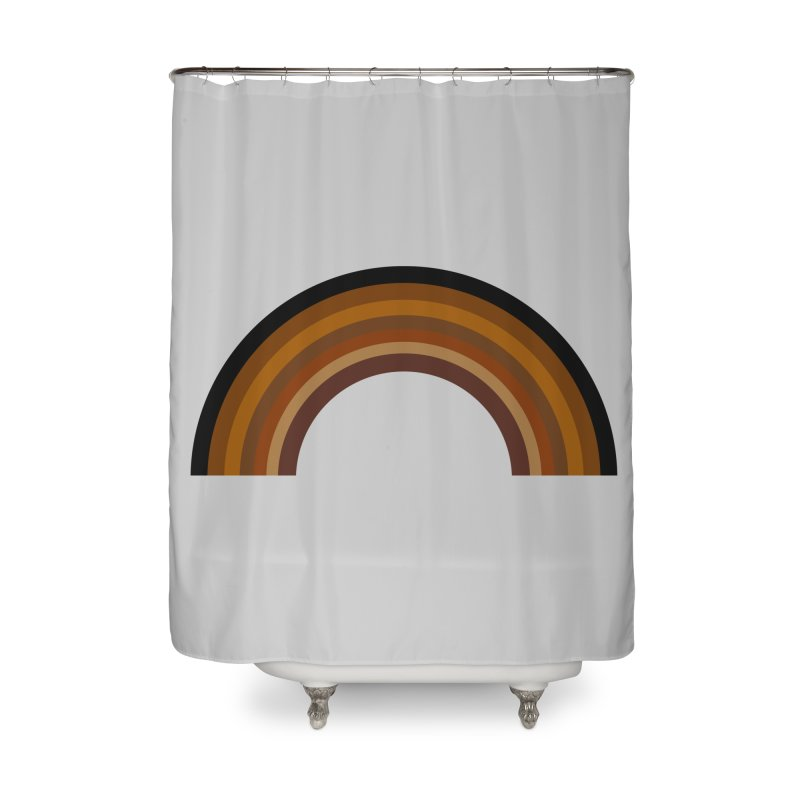 Brown Rainbow Home Shower Curtain by Illustrations by Phil