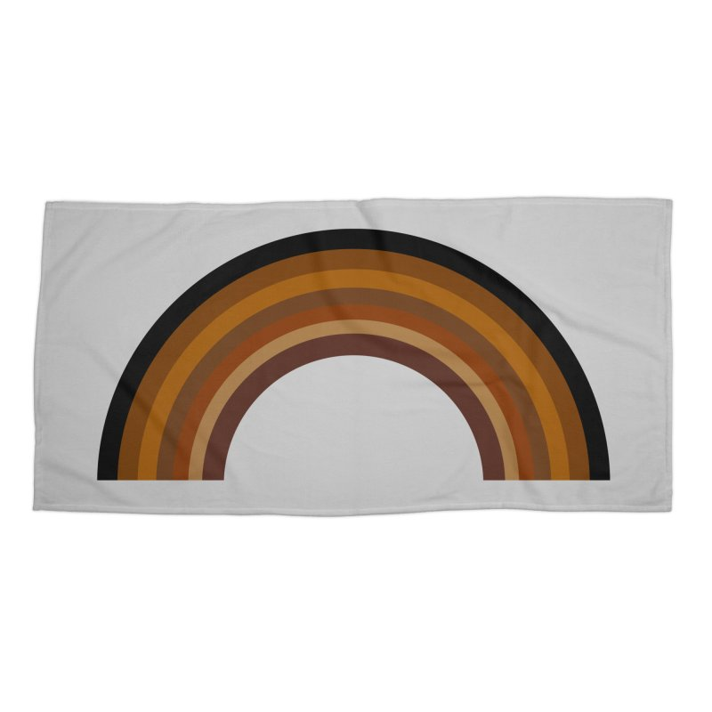 Brown Rainbow Accessories Beach Towel by Illustrations by Phil