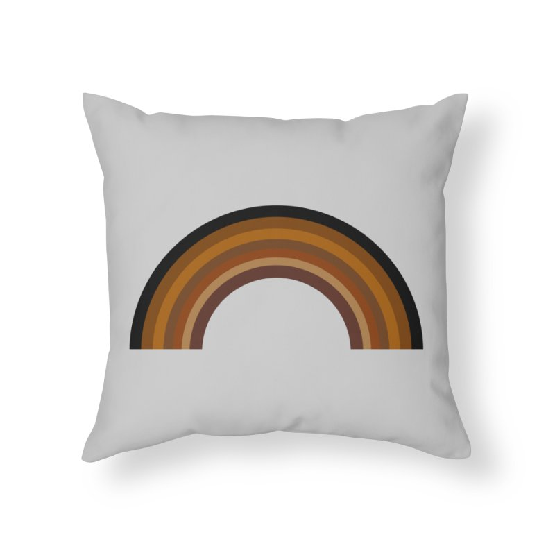 Brown Rainbow Home Throw Pillow by Illustrations by Phil