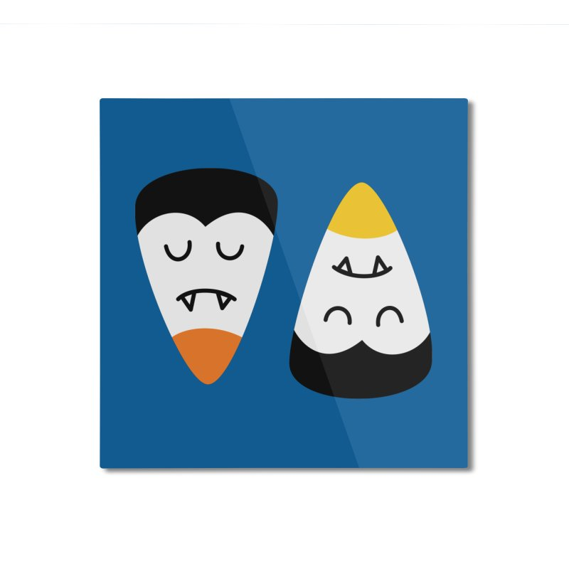 Vampire Candy Corn Home Mounted Aluminum Print by Illustrations by Phil