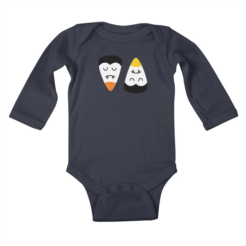 Vampire Candy Corn Kids Baby Longsleeve Bodysuit by Illustrations by Phil