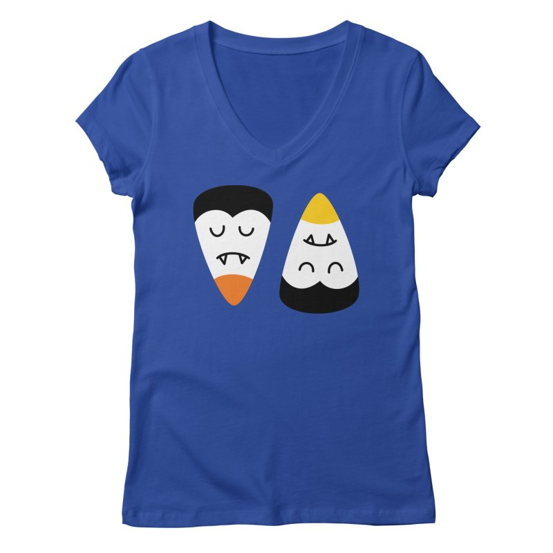 Vampire Candy Corn Women's V-Neck by Illustrations by Phil