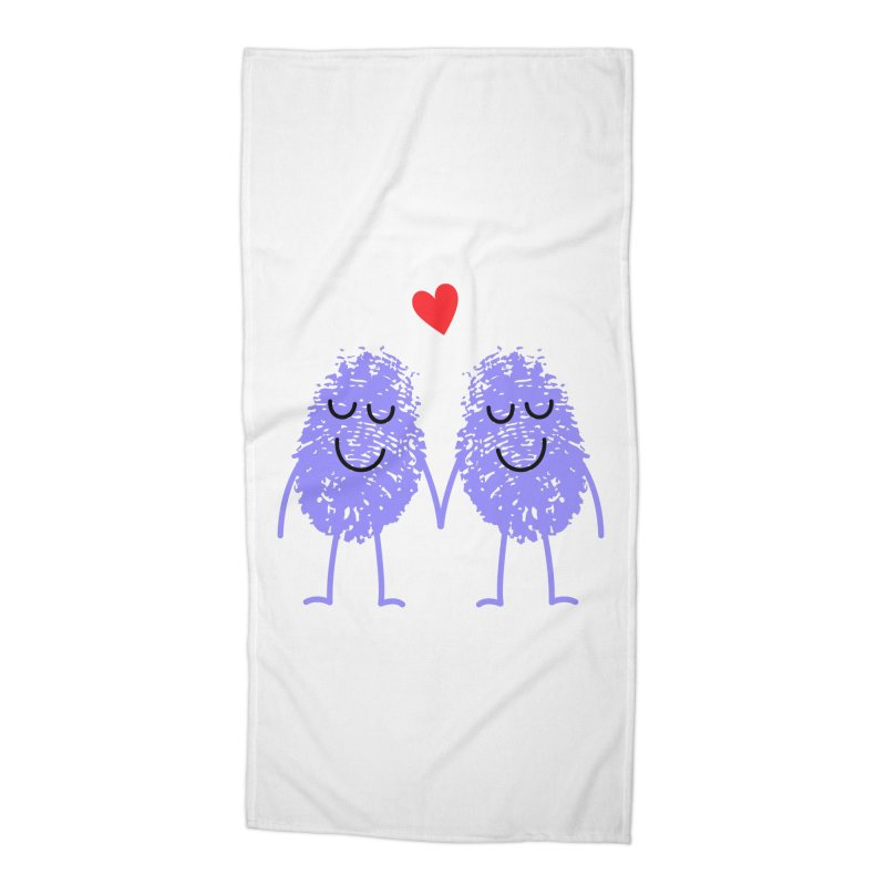 Fingerprint friends Accessories Beach Towel by Illustrations by Phil