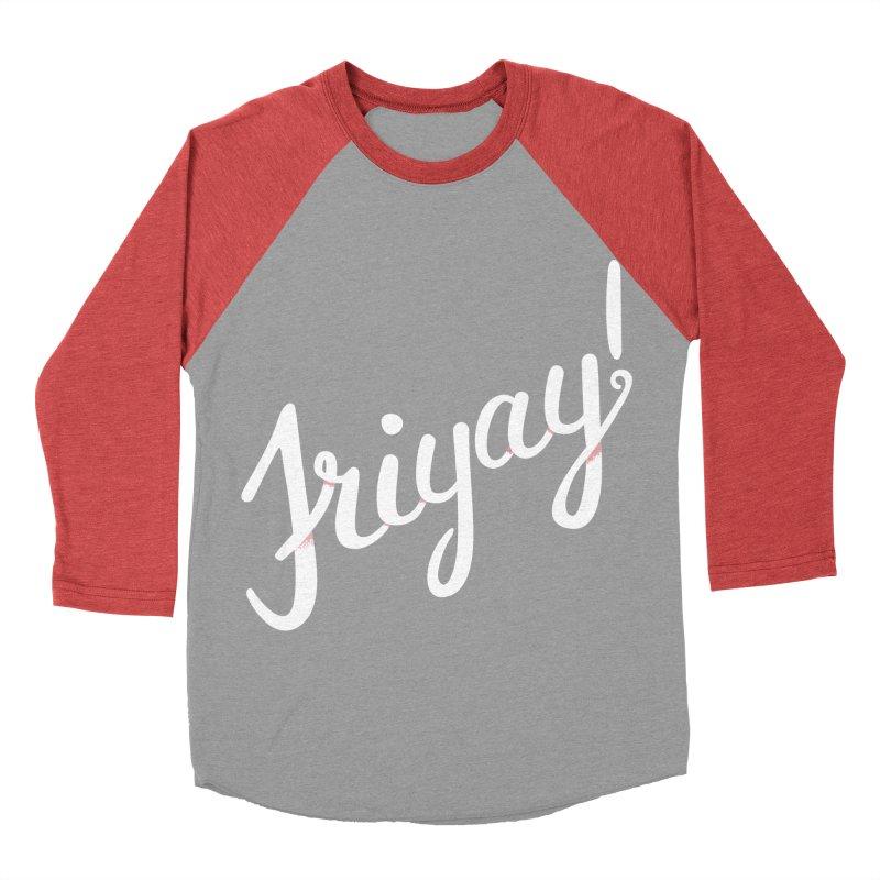 Friyay White Men's Baseball Triblend Longsleeve T-Shirt by Illustrations by Phil