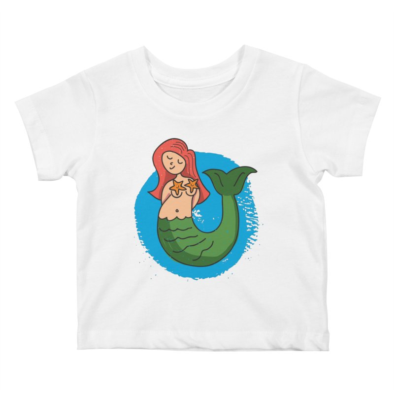 Bashful Mermaid in Kids Baby T-Shirt White by Illustrations by Phil