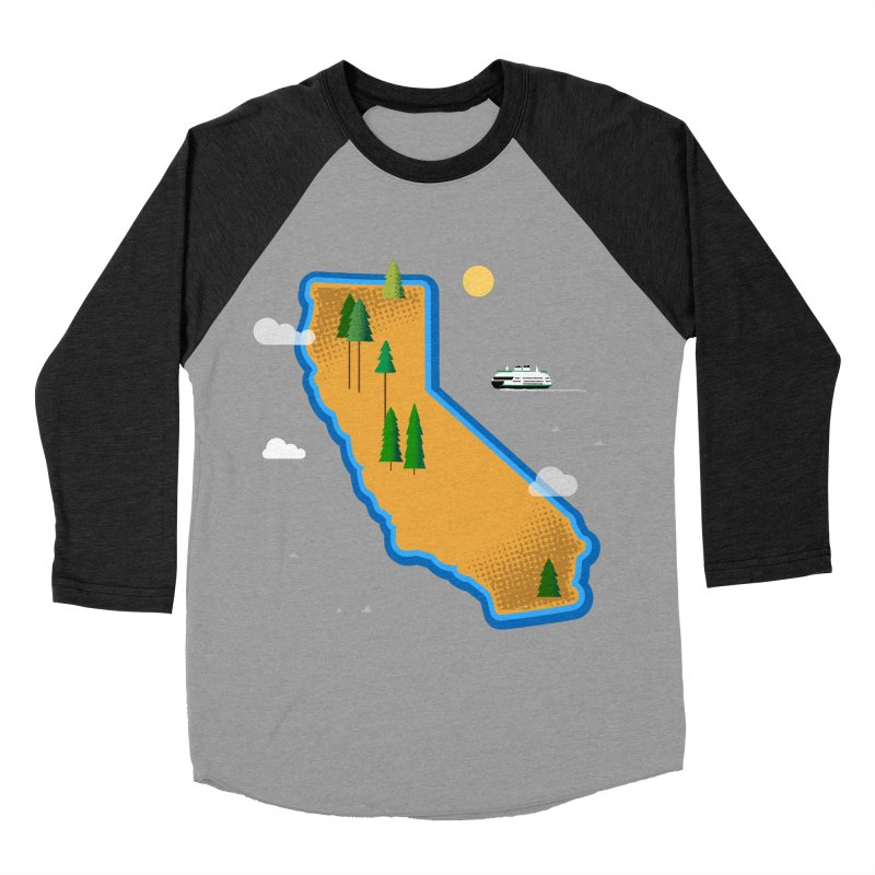 California Island Women's Baseball Triblend Longsleeve T-Shirt by Illustrations by Phil