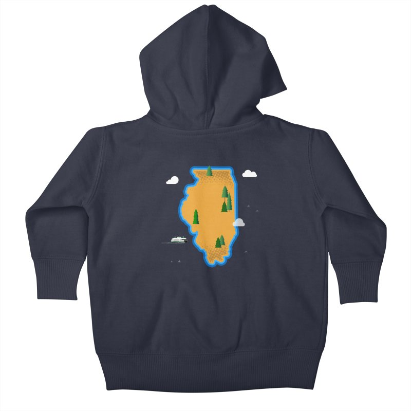 Illinois Island Kids Baby Zip-Up Hoody by Phillustrations's Artist Shop