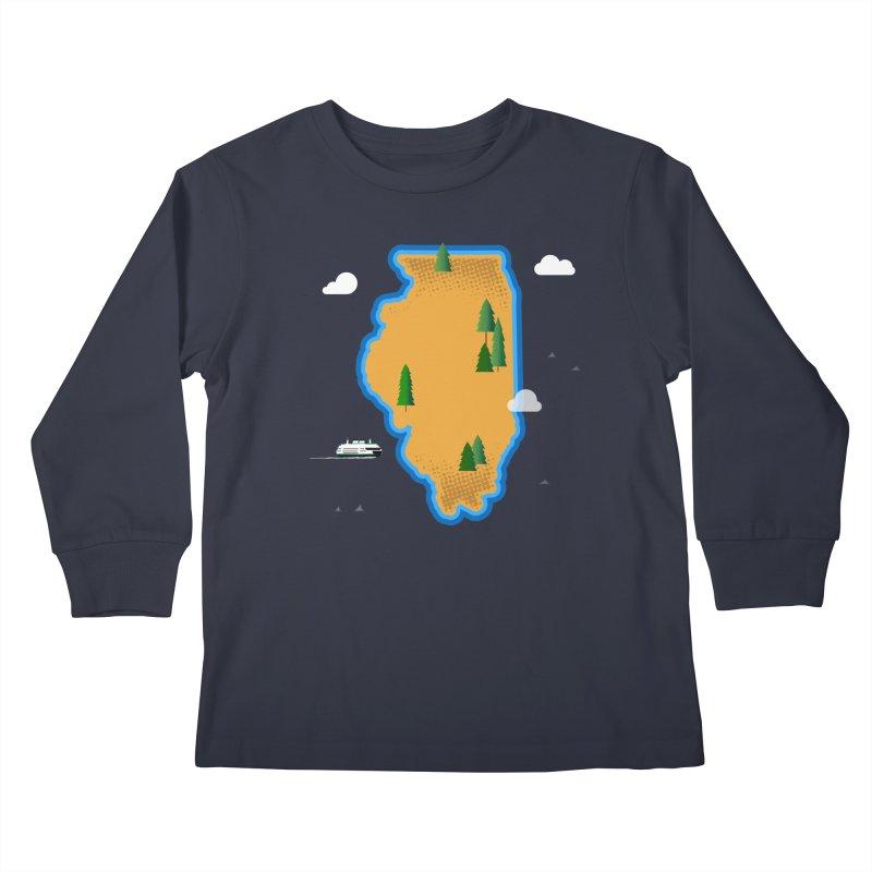 Illinois Island Kids Longsleeve T-Shirt by Phillustrations's Artist Shop