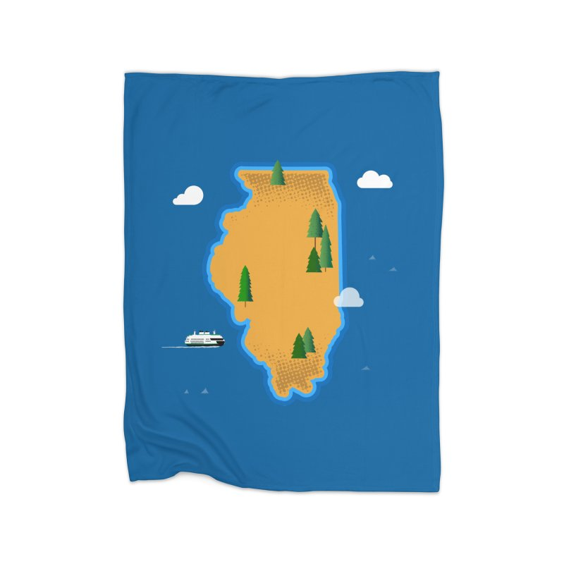 Illinois Island Home Blanket by Phillustrations's Artist Shop