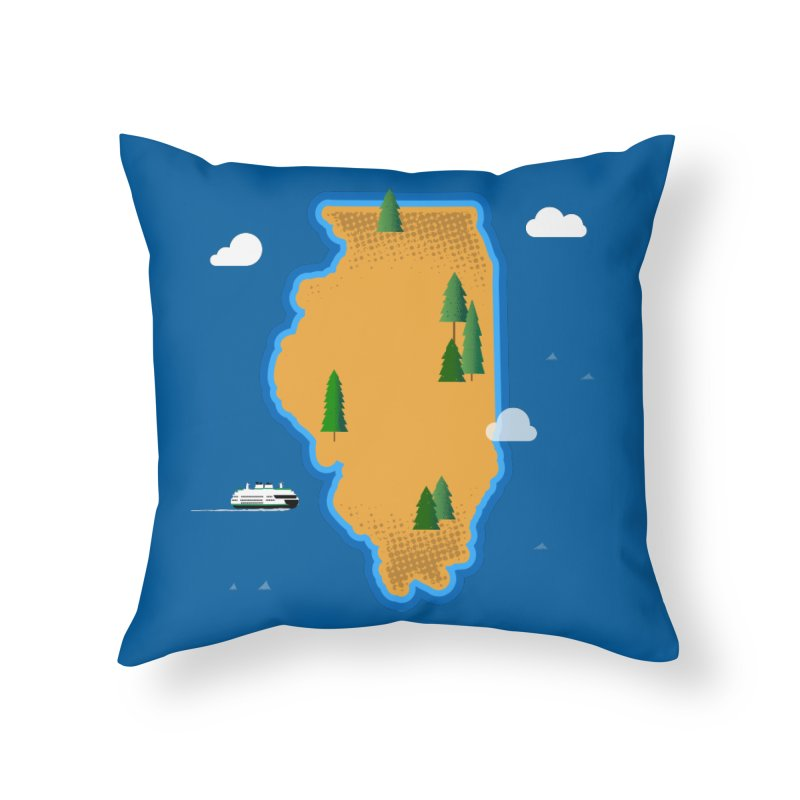 Illinois Island Home Throw Pillow by Phillustrations's Artist Shop