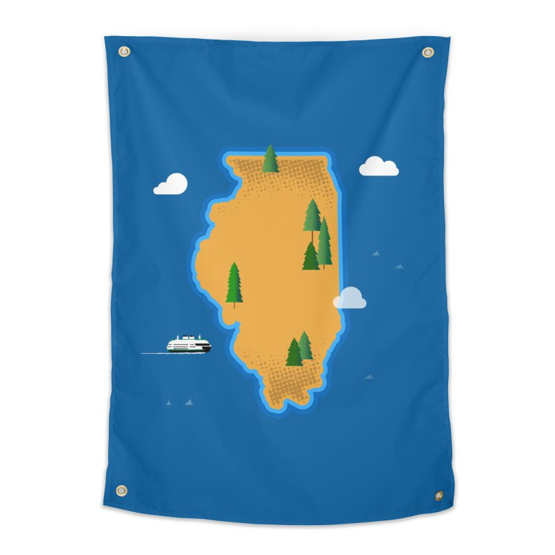 Illinois Island Home Tapestry by Phillustrations's Artist Shop