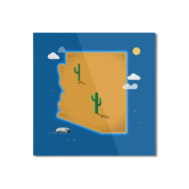 Arizona Island Home Mounted Aluminum Print by Phillustrations's Artist Shop