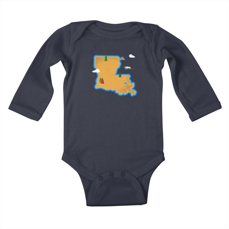Louisiana Island Kids Baby Longsleeve Bodysuit by Phillustrations's Artist Shop